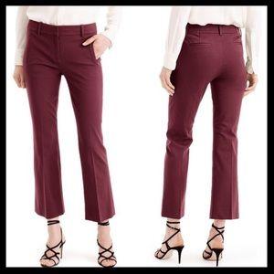 J. Crew maroon wide leg cropped pants size 2